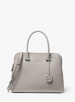 Michael Kors Houston Medium Crossgrain Leather Satchel
