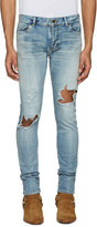 Saint Laurent Blue Low Waisted Skinny Jeans