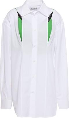 Maison Margiela Layered Cutout Cotton-poplin And Stretch-knit Shirt