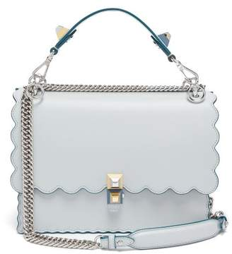 Fendi Kan I Leather Shoulder Bag - Womens - Light Blue