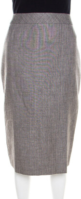 Escada Grey Linen and Wool Front Slit Detail Pencil Skirt L