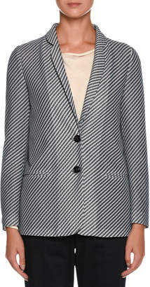 Giorgio Armani Diagonal-Stripe Jersey Jacquard Two-Button Jacket