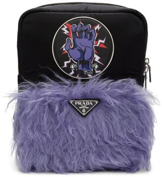 Prada Black Universal Studios Edition Hand Logo Backpack
