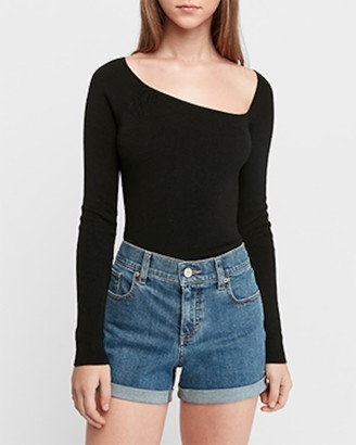 Express Mid Rise Relaxed Convertible Hem Jean Shorts