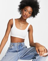 Thumbnail for your product : Monki Fatima ribbed crop vest top in white