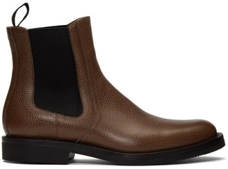 Dries Van Noten Brown Pebbled Chelsea Boots