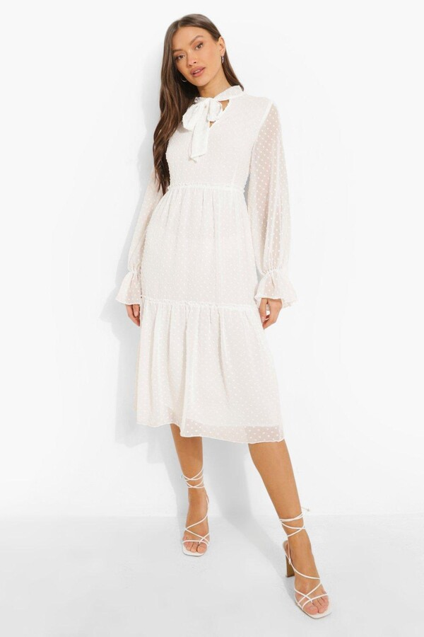 Thumbnail for your product : boohoo Dobby Mesh Pussy Bow Tiered Smock Midi Dress