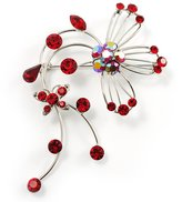 Avalaya Red Flower And Butterfly Art Nouveau Brooch (Silver Tone)