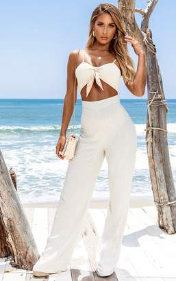 PrettyLittleThing Sand Woven Wide Leg Trousers