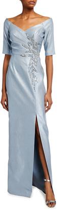 Rickie Freeman For Teri Jon Off-the-Shoulder Elbow-Sleeve Beaded Trim Gown