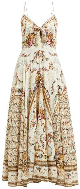 Camilla Olympe Ode Print Silk Dress - Womens - White Print