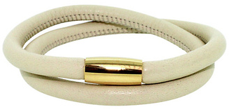 Link Up 2 Row Cream Leather Bracelet - Gold Coloured Clasp
