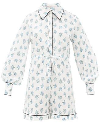 Emilia Wickstead Bryn Floral-print Cotton-poplin Pyjama Playsuit - Womens - White Print
