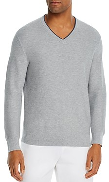 Bloomingdale's The Men's Store at Cotton Tipped Textured Birdseye Classic Fit V-Neck Sweater - 100% Exclusive