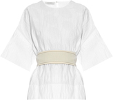 Cédric Charlier Perforated cotton-blend belted top