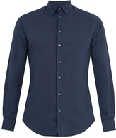 Giorgio Armani Single-cuff flannel-cotton shirt