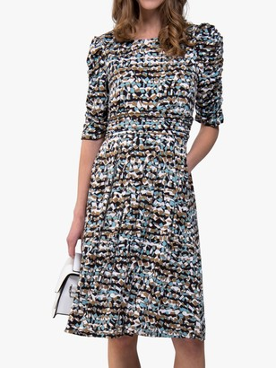 Jolie Moi Ruched Sleeve Print Jersey Midi Dress, Blue Abstract