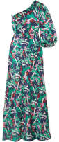 Saloni Lily One-shoulder Printed Silk-satin Maxi Dress - Green