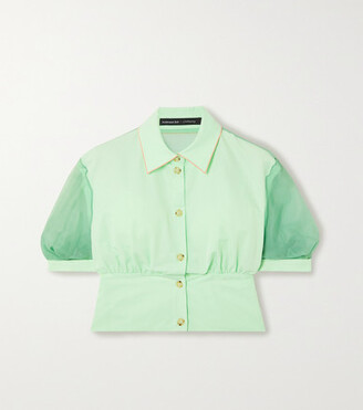 ANDERSSON BELL Maria Paneled Cotton-blend And Silk-organza Blouse - Jade