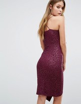 AX Paris Asymmetric Midi Cami Dress In Metallic Print