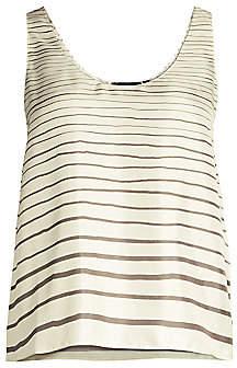 Theory Women's Stripe Silk Tank Top