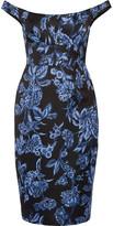 Lela Rose Off-the-shoulder floral-print satin dress