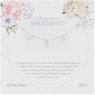 Dogeared Sterling Silver Will You Be My Bridesmaid? 3mm Pearl Charm Necklace