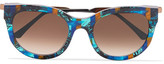 Thierry Lasry Lively Cat-eye Acetate And Rose Gold-tone Sunglasses - one size