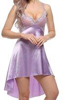 Vilania Women Nightgown Sexy Satin Lace Sling Pajamas Dress Sleepwear Chemise With V-string Mini Slip Backless ,TXZ-CA9037-L