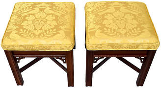 One Kings Lane Vintage Chippendale Scalamandre Ottomans - Set of 2 - Cannery Row Home