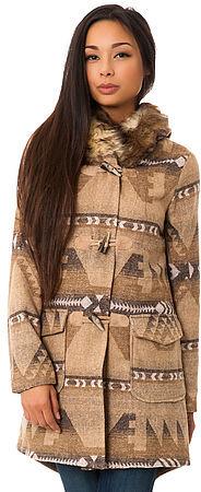 BB Dakota The Davina Coyote Fur Trim Patterned Coat