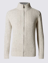 Marks And Spencer Ribbed Zip Through Cardigan