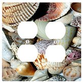 Seashells Seashell Beach Ocean Sand on the Coast 2 Duplex Electrical Outlet Wall Plate (4.56 x 4.5in)