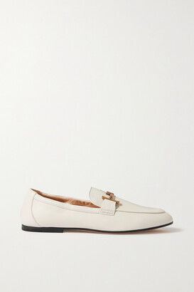 Tod's Doppia Embellished Leather Loafers - White