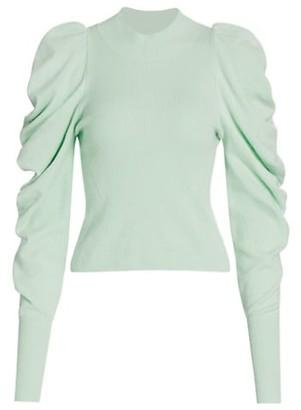 Jonathan Simkhai Drea Loungewear Knit Drape-Sleeve Sweater