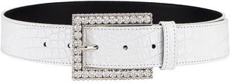 Alessandra Rich Rectangular Crystal Buckle Croc Belt in White | FWRD