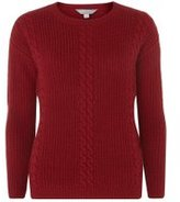 Dorothy Perkins Womens Red Cable Knitted Jumper- Red