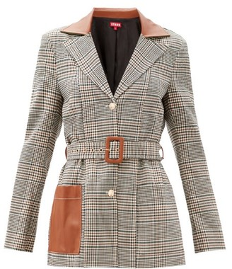 STAUD Paprika Single-breasted Belted Checked Jacket - Beige Multi