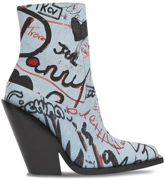 Burberry Graffiti Print Denim Ankle Boots