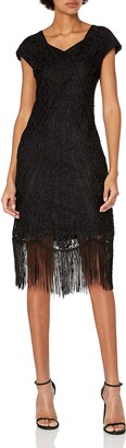 Unique Vintage Women's 1920s Deco Beaded Fringe Aelita Flapper Dress