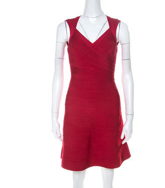 Herve Leger Lipstick Red Sleeveless A Line Bruna Bandage Dress XXS
