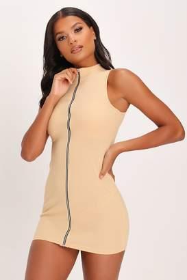 I SAW IT FIRST Stone Zip Front Sleeveless Mini Dress