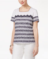 Alfred Dunner Petite Seas The Day Burnout Striped Top