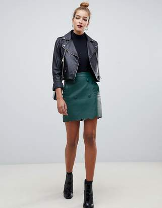 Asos Design DESIGN leather look mini skirt with scallop edge-Green