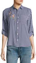 Velvet Heart Elisa Floral-Embellished Long-Sleeve Striped Shirt