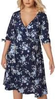 WoldGirls Women's Plus Size Floral Print 3/4 Length Tie Wrap Dresses