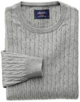 Light Grey Cotton Cashmere Cable Crew Neck Cotton/Cashmere Sweater Size XXL by Charles Tyrwhitt