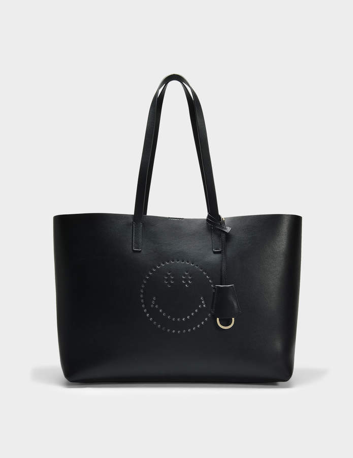 Anya Hindmarch Smiley Ebury Shopper Bag in Black Circus Leather