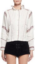 Etoile Isabel Marant Delphine Embroidered Linen Top, Ecru
