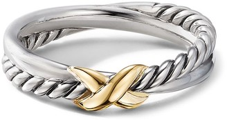 David Yurman 18kt yellow gold X cable ring
